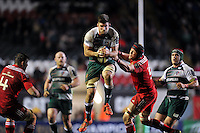 Mike Fitzgerald of Leicester Tigers claims a restart in the air. European Rugby Champions Cup match, between Leicester Tigers and Munster Rugby on December 20, 2015 at Welford Road in Leicester, England. Photo by: Patrick Khachfe / JMP