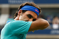 Roger Federer of Switzerland reacts during his game against Marin Cilic of Croatia during men semifinal match at the US Open 2014 tennis tournament in the USTA Billie Jean King National Center, New York.  09.05.2014. VIEWpress