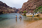 Rafting, no model release, on the Colorado River below Hoover Dam on border of Arizona, AZ, Nevada, NV, tourism, vacation, sports, Beach, sky, water, mountain, landscape, swimming, photographer, women, image nv436-18493.Photo copyright: Lee Foster, www.fostertravel.com, lee@fostertravel.com, 510-549-2202