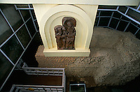 A old sculpture of Siddhartha Gautam (Lord Buddha) and Maya Devi (mother of Buddha) and in a bullet proof case, the foot print of Siddhartha Gautam in the Maya Devi Temple in Lumbini Nepal, marks the birth place of Siddhartha Gautam Buddha..In 1976, the Nepalese Government and UNESCO designated Lumbini as a world heritage site..-The full text reportage is available on request in Word format