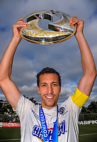 Auckland City captain Angel Berlanga with the OFC Championship trophy after the Oceania Football Championship final (second leg) football match between Team Wellington and Auckland City FC at David Farrington Park in Wellington, New Zealand on Sunday, 7 May 2017. Photo: Dave Lintott / lintottphoto.co.nz