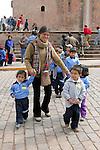 Mother & Children In Plaza De Armas
