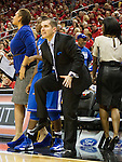 UK assistant coach Matt Insell reacts to a call he thought should have gone the other way in Sunday evening's game against the Louisville Cardinals. in Louisville, Ky., on Sunday, December, 2, 2012. Photo by James Holt | Staff
