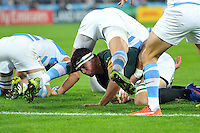 Francois Louw of South Africa looks to reach the try-line. Rugby World Cup Bronze Final between South Africa and Argentina on October 30, 2015 at The Stadium, Queen Elizabeth Olympic Park in London, England. Photo by: Patrick Khachfe / Onside Images