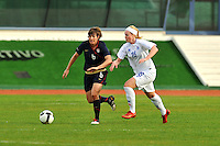 Amy LePeilbet carries the ball. The USWNT defeated Iceland (2-0) at Vila Real Sto. Antonio in their opener of the 2010 Algarve Cup on February 24, 2010.