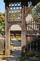 Carved gate to Eastern Transylvanian wooden vernacular house Bancu, Harghita, Built: 1862. Dimitrie Gusti National Village Museum (Muzeul Satului) in Bucharest, Romania