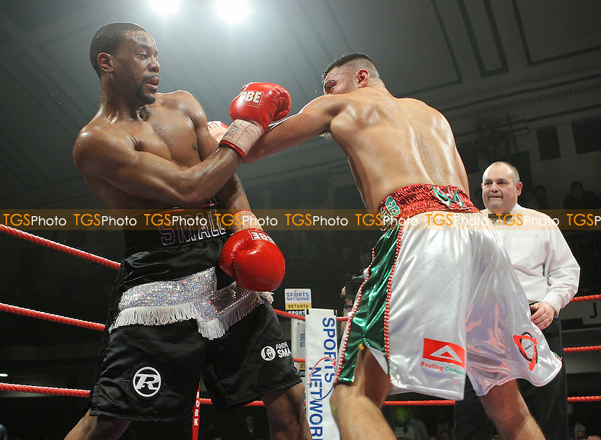 Anthony Small (Deptford, black shorts) defeats Mehrdud Takaloo (Margate, white shorts) in a Light-Heavyweight contest at York Hall, Bethnal Green, promoted by Sports Network (Frank Warren) - 12/01/08 - MANDATORY CREDIT: Gavin Ellis/TGSPHOTO. Self-Billing applies where appropriate. NO UNPAID USE. Tel: 0845 094 6026
