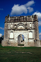 Ruined 16th century Dominican mission church at Copanaguastla, Chipas, Mexico