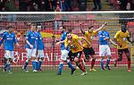 Partick Thistle v St Johnstone.....14.03.15<br /> Stuart Bannigan celebrates his goal<br /> Picture by Graeme Hart.<br /> Copyright Perthshire Picture Agency<br /> Tel: 01738 623350  Mobile: 07990 594431