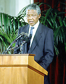 Washington, D.C. - June 25, 1990 -- Nelson Mandela, leader of the African National Congress (ANC), speaks at a United States Senate dinner in his honor in the Senate Caucus .Room in Washington, DC on Monday, June 25, 1990.  .Credit: Ron Sachs / CNP