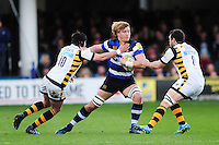 David Denton of Bath Rugby takes on the Wasps defence. Aviva Premiership match, between Bath Rugby and Wasps on March 4, 2017 at the Recreation Ground in Bath, England. Photo by: Patrick Khachfe / Onside Images