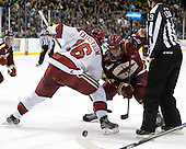 Alex Fallstrom (Harvard - 16), Bill Arnold (BC - 24) - The Boston College Eagles defeated the Harvard University Crimson 4-1 in the opening round of the 2013 Beanpot tournament on Monday, February 4, 2013, at TD Garden in Boston, Massachusetts.