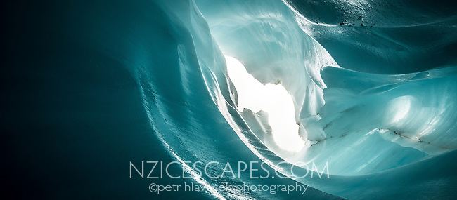 Spectacular blue ice cave on Fox Glacier, Westland Tai Poutini National Park, West Coast, UNESCO World Heritage Area, New Zealand, NZ