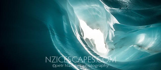 Spectacular blue ice cave on Fox Glacier, Westland Tai Poutini National Park, West Coast, UNESCO World Heritage Area, New Zealand, NZ