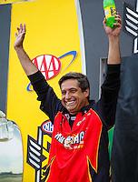 Sep 25, 2016; Madison, IL, USA; NHRA top fuel driver Kebin Kinsley during the Midwest Nationals at Gateway Motorsports Park. Mandatory Credit: Mark J. Rebilas-USA TODAY Sports