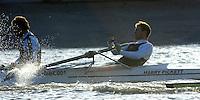PUTNEY, LONDON, ENGLAND, 05.03.2006, Molesey BC's Richard Ockenden attempts to recover his oar. Pre 2006 Boat Race Fixtures,.   © Peter Spurrier/Intersport-images.com..CUBC, Bow Luke Walton, No. 2 Tom Edwards, No.3 Sebastian Thormann, No 4. Thorsten Englemann, No.5 Sebastian Schulte, No.6 Kieran West, No.7 Tom James, stroke Kip McDaniel and cox Peter Rudge...OUBC, Bow Robin Esjmond-Frey, No.2 Colin Smith, No.3 Jake Wetzel, No.4 Paul Daniels, No.5 James Schroeder. No.6 Barney Williams, No. 7 Tom Parker, stroke Bastien Ripoll, and cox Nick Brodie,..[Mandatory Credit Peter Spurrier/ Intersport Images] Varsity Boat Race, Rowing Course: River Thames, Championship course, Putney to Mortlake 4.25 Miles
