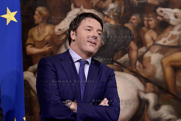 Roma, 28 Ottobre 2014<br /> Il premier Matteo Renzi incontra a Palazzo Chigi il vincitore del Tour de France Vincenzo Nibali.