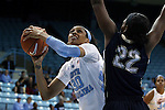 04 November 2015: North Carolina's Hillary Summers (30) and Wingate's Danasia Witherspoon (22). The University of North Carolina Tar Heels hosted the Wingate University Bulldogs at Carmichael Arena in Chapel Hill, North Carolina in a 2015-16 NCAA Women's Basketball exhibition game. UNC won the game 86-84.