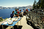 OR:  Oregon; Crater Lake National Park, bicycling, model released           .Photo Copyright Lee Foster, lee@fostertravel.com, www.fostertravel.com, (510) 549-2202.Image orcrat211