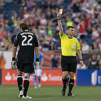 Foxborough, Massachusetts - July 6, 2016: In a Major League Soccer (MLS) match, New York City FC (blue/white) defeated  New England Revolution (red), 1-0, at Gillette Stadium.<br /> Referee David Gantar ejects (red card) Bobby Shuttleworth.