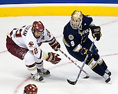 Dan Bertram (BC 22), Ryan Thang (Notre Dame 9) - The Boston College Eagles won the NCAA D1 national championship by defeating the University of Notre Dame Fighting Irish 4-1 in the final of the 2008 Frozen Four at the Pepsi Center in Denver, Colorado on Saturday, April 12, 2008.