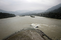 "One of the main channels that makes up the Dujiangyan Irrigation System. The system is regarded as an ""ancient Chinese engineering marvel."" By naturally channeling water from the Min River during times of flood, the irrigation system served to protect the local area from flooding and provide water to the Chengdu basin. Sichuan Province. 2010"