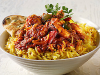 Chicken Jalfrezie Indian curry with pilau rice & naan bread