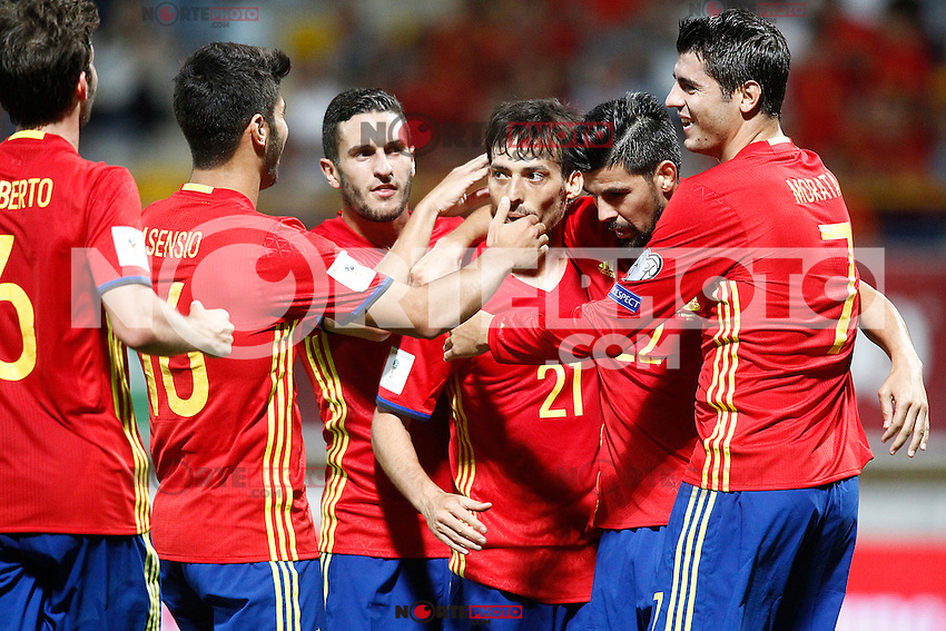 Spain's Sergi Roberto, Marco Asensio, Koke Resurreccion, David Silva, Nolito and Alvaro Morata celebrate goal during FIFA World Cup 2018 Qualifying Round match. September 5,2016.(ALTERPHOTOS/Acero) /NORTEPHOTO