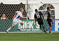 Steven Lenhart (24) of the San Jose Earthquakes celebrates his first goal during the game at RFK Stadium in Washington, DC.  D.C. United was defeated by the San Jose Earthquakes, 4-2.