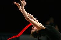 Anna Bessonova of Ukraine trains recatch with ribbon before 2007 Thiais Grand Prix near Paris, France on March 22, 2007.