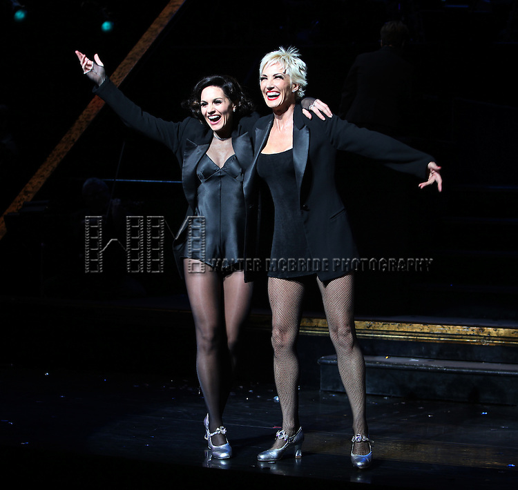 """Curtain Call - Kara DioGuardi (Grammy-nominated songwriter and former """"American Idol"""" judge ) with Amra-Faye Wright as she makes her Broadway Debut as Roxie Hart in 'CHICAGO' on Broadway at the Ambassador Theatre in New York City."""