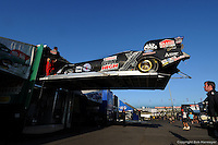 INDIANAPOLLIS, IN - SEPTEMBER 1: The Funny Car of driver John Force is unloaded before the Mac Tools U.S. Nationals on September 1, 2008, at O'Reilly Raceway Park near Indianapolis, Indiana.