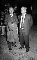 Roma Febbraio  1986.Ciriaco De Mita (Democrazia  Cristiana), Alfredo Biondi (Partito Liberale Italia).