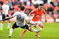 Blackpool&rsquo;s Ian Black is challenged by Luton Town's Glen Rea<br /> <br /> Photographer Richard Martin-Roberts/CameraSport<br /> <br /> The EFL Sky Bet League Two Play-Off Semi Final First Leg - Blackpool v Luton Town - Sunday May 14th 2017 - Bloomfield Road - Blackpool<br /> <br /> World Copyright &copy; 2017 CameraSport. All rights reserved. 43 Linden Ave. Countesthorpe. Leicester. England. LE8 5PG - Tel: +44 (0) 116 277 4147 - admin@camerasport.com - www.camerasport.com
