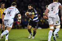 Kane Palma-Newport of Bath Rugby in possession. West Country Challenge Cup match, between Bath Rugby and Exeter Chiefs on October 10, 2015 at the Recreation Ground in Bath, England. Photo by: Patrick Khachfe / Onside Images