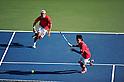 (L to R) Tatsuma Ito (JPN), Yuichi Sugita (JPN), SEPTEMBER 17, 2011 - Tennis : Davis Cup by BNP Paribas 2011 World Group play-off match Tatsuma Ito/Yuichi Sugita (JPN) 1(5-7 6-3 3-6 6-7)3 Rohan Boppana/Mahesh Bhupathi (IND) at Ariake Colosseum, Tokyo, Japan. (Photo by Jun Tsukida/AFLO SPORT) [0003]