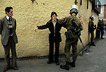 Belfast The Troubles 1980s. British soldiers stop and search. 1981 Northern Ireland.
