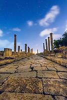 The Colonnaded Street at night, Greco-Roman ruins, Jerash, Jordan.