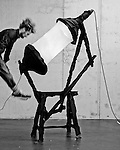 Pepe Heykoop (Dutch, b. 1984); Skin vs G-Star Tension Light, 2014; Jeans, two lamps, melting pot; 200 × 130 × 50 cm (6 ft. 6 3/4 in. × 51 3/16 in. × 19 11/16 in.)