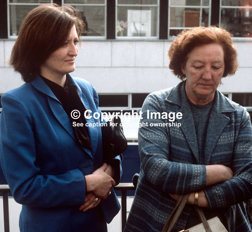 Marcella Sands, sister, and Rosaleen Sands, mother, await news from the count of the Fermanagh & South Tyrone by-election on 10 April 1981. Bobby Sands, leader, Provisional IRA Anti H-Block hunger strike did win the seat. He died, still on hunger strike, about a month later. 198104100070S6.Copyright Image from Victor Patterson, 54 Dorchester Park, Belfast, United Kingdom, UK...For my Terms and Conditions of Use go to http://www.victorpatterson.com/Victor_Patterson/Terms_%26_Conditions.html