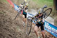 teammates Nikki Harris (GBR/Telenet-Fidea) &amp; Jolien Verschueren (BEL/Telenet-Fidea) in pursuit of Sanne Cant<br /> <br /> Jaarmarktcross Niel 2015  Elite Women's Race