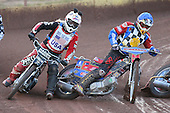 Heat 4: Shane Hazelden (blue) and Shawn McConnell - Hackney Hawks vs Team America - Speedway Challenge Meeting at Rye House - 09/04/11 - MANDATORY CREDIT: Gavin Ellis/TGSPHOTO - Self billing applies where appropriate - Tel: 0845 094 6026