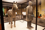 "Lifesize calvary horse sculpture with warrior in the ""Terra Cotta Warriors: The Emperor's Painted Army,"" Exhibit directly from Xian in the Shaanxi Province, China which debuted in 2014 at the Children's Museum, Indianapolis, Indiana, USA"