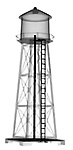X-ray image of a water tower (black on white) by Jim Wehtje, specialist in x-ray art and design images.