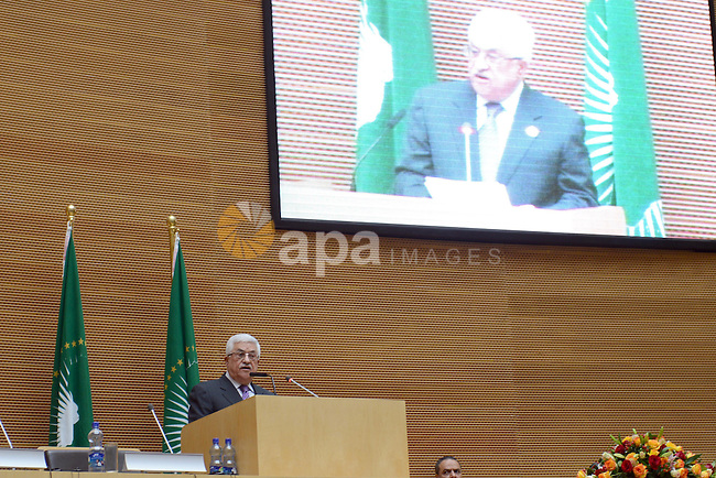 Palestinian President Mahmud Abbas delivers a speech at the 20th Ordinary Session of The Assembly of the Heads of State and Government (OSOA) of the African Union (UA) in Addis Ababa Ethiopia on January 27, 2013. Photo by Thaer Ganaim