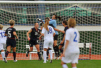 Hope Solo celebrates with Abby Wambach and Rachel Buehler after stopping her second consecutive penalty kick vs. Iceland.  The USWNT defeated Iceland (2-0) at Vila Real Sto. Antonio in their opener of the 2010 Algarve Cup on February 24, 2010.