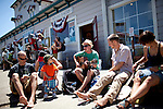 Ben Geilhufe, center, plays outside the Bovine Bakery in Pt. Reyes Station, Calif., July 2, 2011.