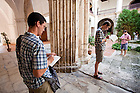 Sept. 5, 2011; College of Architecture graduate students sketch in the courtyard of a church in Havana, Cuba while on a research trip...Photo by Matt Cashore/University of Notre Dame