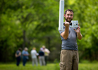 NWA Democrat-Gazette/JASON IVESTER<br /> Matthew Fenno (cq) with National Parks Service Southeast Archaeological Center uses a magnetic gradiometer Thursday, May 18, 2017, in the area of the Leetown Hamlet at the Pea Ridge National Military Park.
