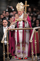 Pope Benedict XVI leads the Vesper prayer with members of Rome's universities  at St Peter's basilica at The Vatican.on December 15, 2011